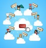 La comunidad de la nube traduce concepto Fotos de archivo libres de regalías