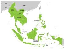 La comunità economica di ASEAN, CEA, mappa Mappa grigia con gli Stati membri evidenziati verdi, Sud-est asiatico Vettore illustrazione vettoriale