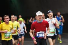 La concentración del atleta del maratón Imagen de archivo