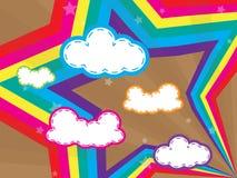 La conception colorée avec des nuages et les arcs-en-ciel star en arrière illustration stock