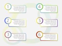 La conception d'infographics de chronologie avec 6 options dirigent l'image illustration de vecteur