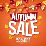 La conception de bannière de vecteur de vente d'automne avec l'érable d'automne part illustration de vecteur