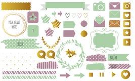 La conception de blog a placé avec des rubans, des autocollants, des logos, des cadres, des frontières et des fonds Photo libre de droits