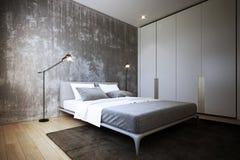 La conception de chambre à coucher, intérieur de style industriel, 3d rendu, illustration 3d illustration stock