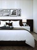 La conception de chambre à coucher, intérieur de style moderne confortable, 3d rendu, illustration 3d illustration de vecteur