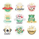 La conception de la meilleure qualité de logo de casino, ensemble de jeu coloré symbolise, des labels, insignes, illustrations de illustration de vecteur