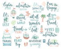La conception de lettrage de voyage a placé - la collection de thèmes d'écritures, de voyage, de voyage et d'aventure illustration libre de droits