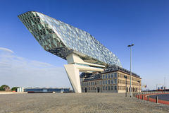 La conception de Zaha Hadid, port d'Anvers siège à l'aube, Anvers, Belgique Image libre de droits