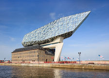 La conception de Zaha Hadid, port d'Anvers siège à l'aube, Anvers, Belgique Photo stock
