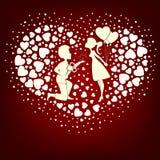 La conception des coeurs d'un ensemble dans le garçon et la fille d'amour Images stock