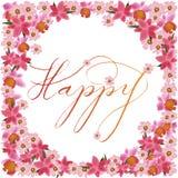 La conception heureuse de calligraphie au centre des fleurs roses douces encadrent comme style de vintage Image libre de droits