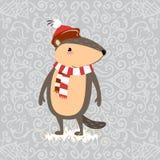 La conception heureuse de jour de Groundhog avec la marmotte mignonne dans le support d'écharpe sur l'herbe verte, prévision de t Images stock