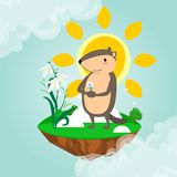 La conception heureuse de jour de Groundhog avec la marmotte mignonne tient la fleur - le perce-neige blanc, prévision de temps,  Photos stock