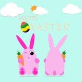 La conception heureuse de vecteur d'oeufs de lapin de Pâques célèbrent la carte Image stock