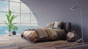 La conception intérieure 3d de chambre à coucher moderne rendent Images stock