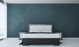 La conception intérieure de chambre à coucher moderne et le mur en béton vert donnent au fond une consistance rugueuse photo stock