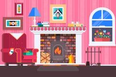 La conception intérieure de cheminée de pièce avec la chaise réserve, ajourne, horloge dans le temps de thé de soirée, cheminée I Images libres de droits