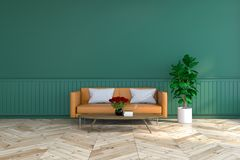 La conception intérieure de pièce de vintage, le sofa en cuir brun sur le plancher en bois et le mur vert-foncé /3d rendent Photos stock
