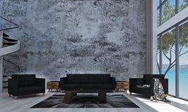 La conception intérieure de salon moderne de grenier et le mur en béton donnent au fond une consistance rugueuse illustration stock
