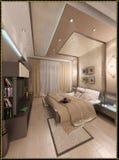La conception intérieure de style moderne de chambre à coucher, 3D rendent Images libres de droits
