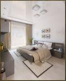 La conception intérieure de style moderne de chambre à coucher, 3D rendent Photo stock