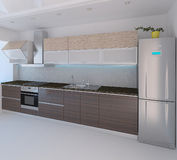La conception intérieure de style moderne de cuisine, 3D rendent Photo stock