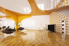 La conception intérieure moderne de la salle de séjour 3d rendent Images libres de droits