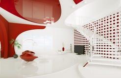 La conception intérieure moderne de la salle de séjour 3d rendent Photos stock