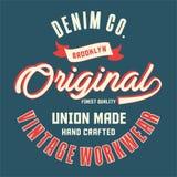 La conception marque avec des lettres l'original de Brooklyn de denim Photo libre de droits