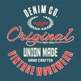 La conception marque avec des lettres l'original de la Californie de denim Photographie stock