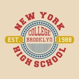La conception marque avec des lettres l'université Brooklyn de New York Images stock