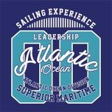 La conception marque avec des lettres la direction l'Océan Atlantique Photographie stock libre de droits