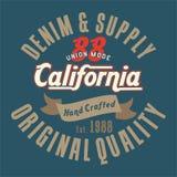La conception marque avec des lettres la qualité d'original de la Californie Image stock