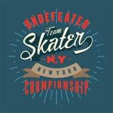La conception marque avec des lettres le championnat de New York de patineur Images stock