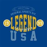 La conception marque avec des lettres les sports Etats-Unis d'original Images stock
