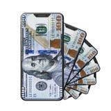La conception moderne du smartphone avec 100 dollars lockscreen dessus illustration 3d de conception brandless de téléphone illustration libre de droits