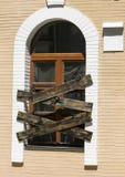 La conception originale de la fenêtre a martelé sur Vozdvizhenka l'ukraine photographie stock libre de droits