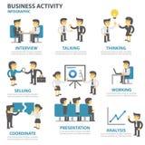 La conception plate d'éléments d'Infographic de calibre de présentation d'activité économique a placé pour le marketing de tract  Photos stock