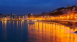 La Concha bay in  autumn night at Donistia Stock Image