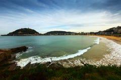 La Concha bay  in autumn time at San Sebastian Royalty Free Stock Image