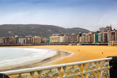 La Concha bay  in autumn time at San Sebastian Royalty Free Stock Images