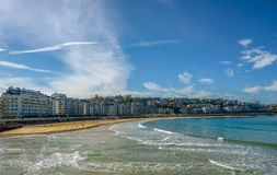 La Concha Bay and beach in San Sebastian Spain stock image