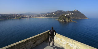 La Concha bay from the castle La Mota, Donostia Royalty Free Stock Photos