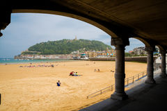 La Concha beach from the arches Royalty Free Stock Photo