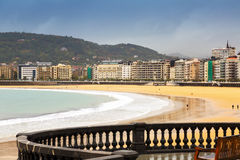 La Concha beach in autumn day at Donostia Royalty Free Stock Photo