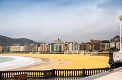 La Concha beach in autumn day at San Sebastian Royalty Free Stock Photo