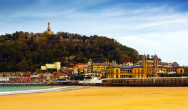La Concha beach in autumn day at San Sebastian Royalty Free Stock Image