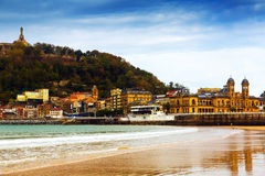 La Concha beach in autumn at San Sebastian Royalty Free Stock Photo