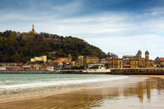 La Concha beach in autumn at San Sebastian Royalty Free Stock Photos