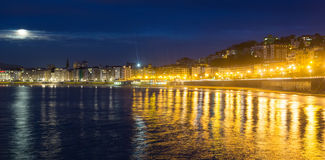 La Concha beach in   night at Donistia Stock Photography
